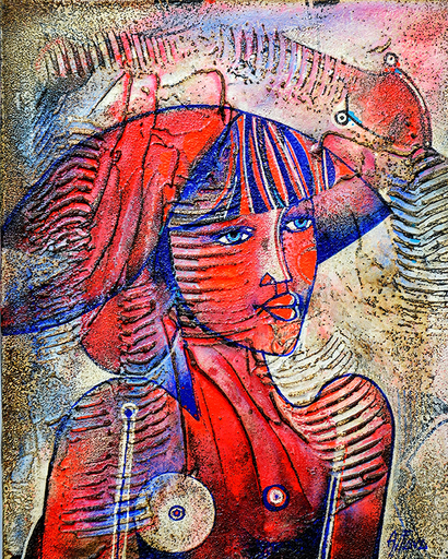 Adriano FAVA - Peinture - Busto di donna