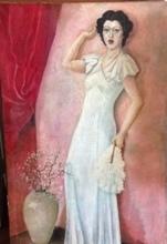 Francis BOTT - Painting - elegante au rideau