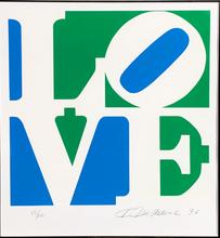 罗伯特•印第安纳 - 版画 - LOVE - Blue, Green & White