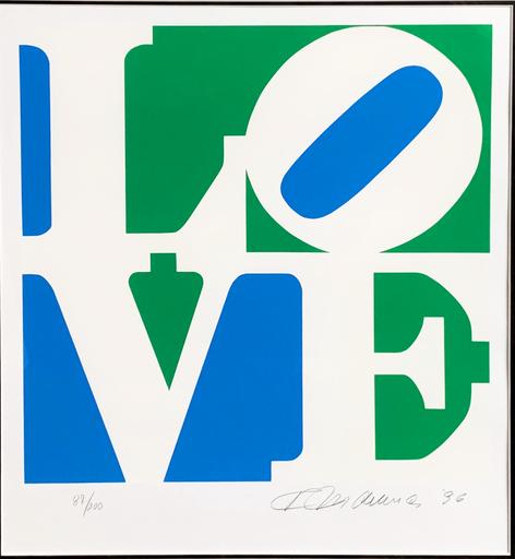 Robert INDIANA - Print-Multiple - LOVE - Blue, Green & White