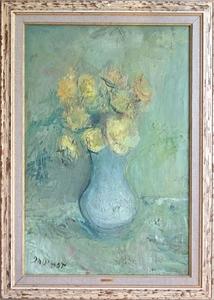 Gabriel DAUCHOT - Painting - Vase aux roses jaunes