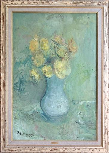 Gabriel DAUCHOT - Pintura - Vase aux roses jaunes