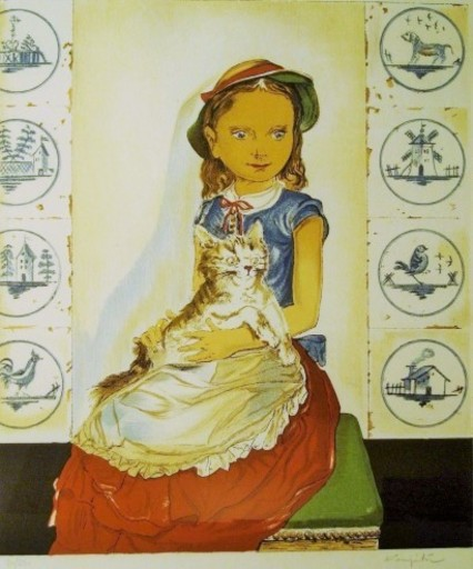 Tsuguharu FOUJITA - Estampe-Multiple - Girl with a Cat