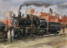 "Reginald H. MARSH - Drawing-Watercolor - The ""Cannonball"""