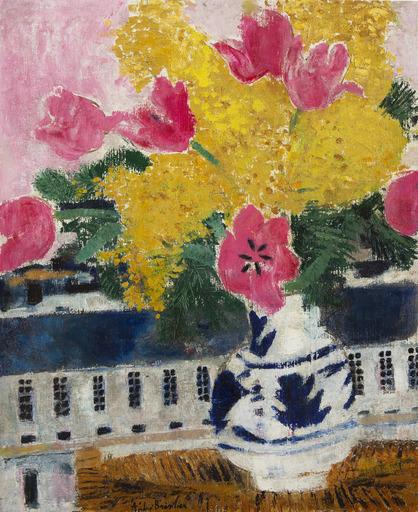 André BRASILIER - Peinture - Tulipes et mimosa en bouquet