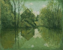 Carlos ESTEBAN - Painting - La maison de l'étang (vert)    (Cat N° 3453)