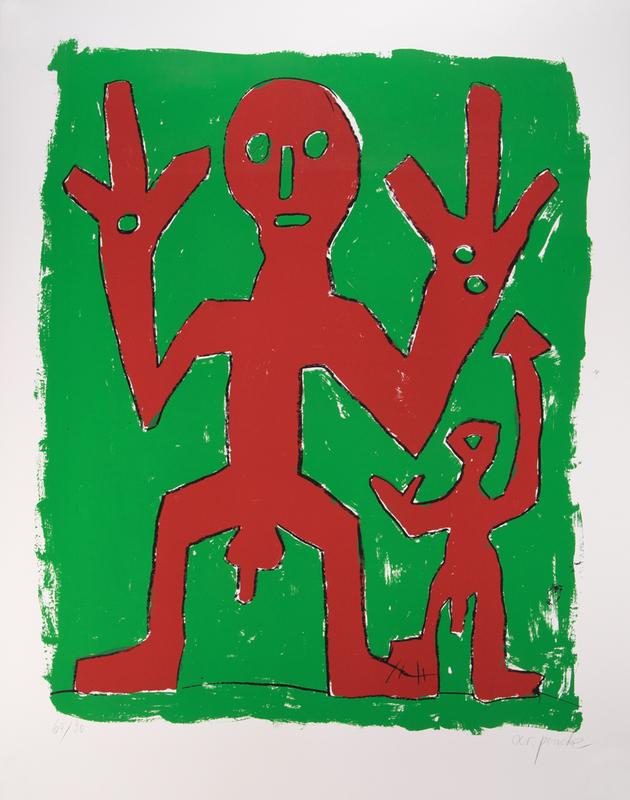 A.R. PENCK - Grabado - Peace