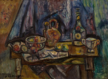 Pinchus KREMEGNE - Peinture - Still Life with Apples, Wine, Vase and Cup