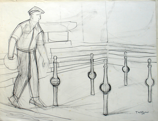 Pierre THÉRON - Drawing-Watercolor - Quilles de neuf II