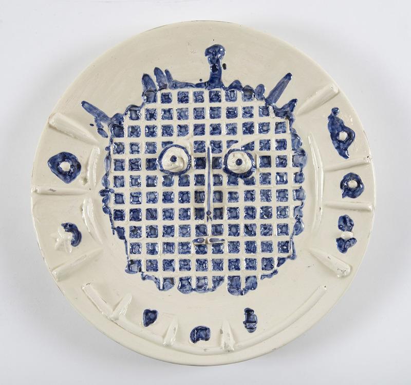 Pablo PICASSO - Ceramic - Visage à la grille, (A.R.352)