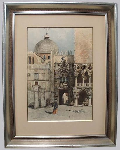 "Frans Xaver SCHMIDT - Drawing-Watercolor - ""Venice"", Watercolor, 1894"