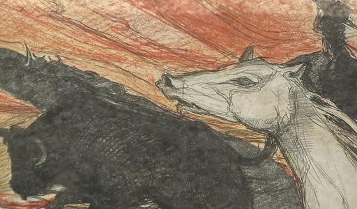 Jean GOUJON - Zeichnung Aquarell - Camargue