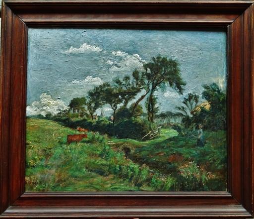 Georges GRIOIS - Gemälde - Campagne animée, Nord, côte d'Opale