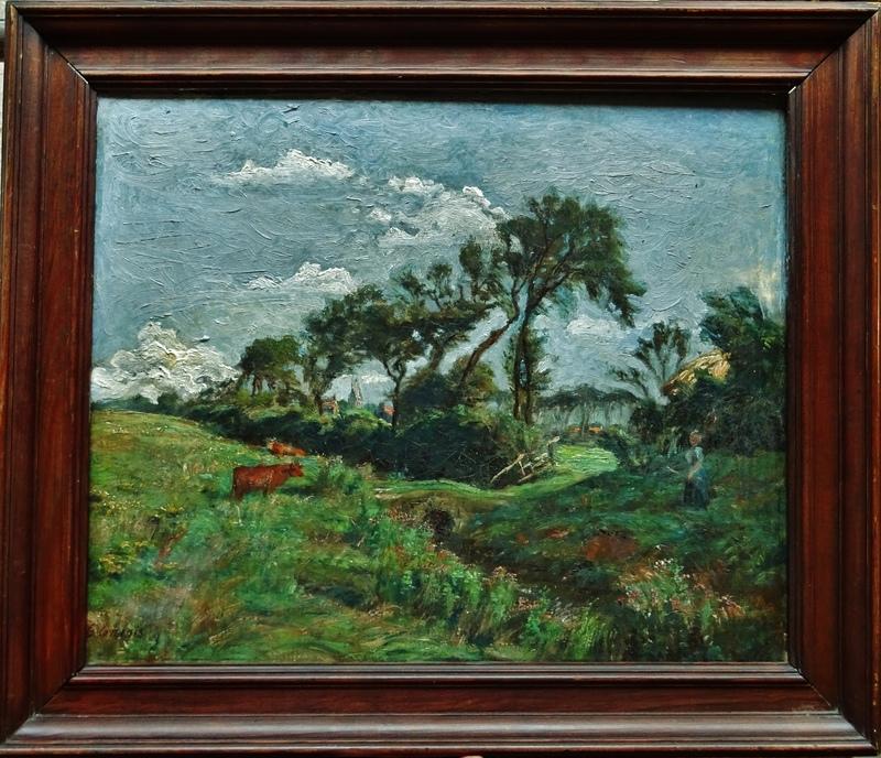 Georges GRIOIS - Painting - Campagne animée, Nord, côte d'Opale