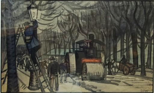Jules Émile ZINGG - Dibujo Acuarela - L'allumeur de réverbères, Paris