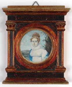 "Anton MACHEK - Zeichnung Aquarell - ""Portrait of a young Lady"" ca.1815, important miniature"