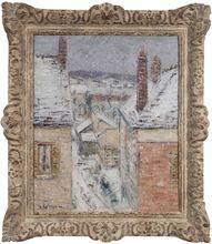 Gustave LOISEAU (1865-1935) - Maisons en Normandie, hiver