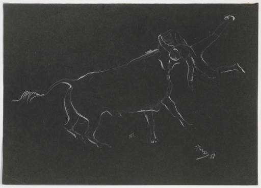 "Rudolf Raimund BALLABENE - Dibujo Acuarela - ""Corrida"" drawing, 1951"