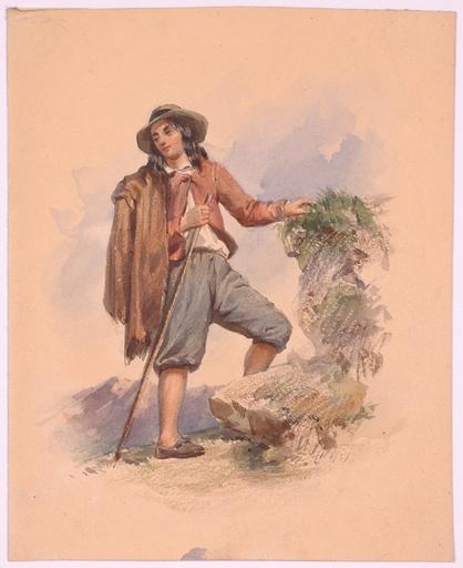 "Franz PITNER - Zeichnung Aquarell - ""Italian Shepherd"" by Franz Pitner, ca 1850"