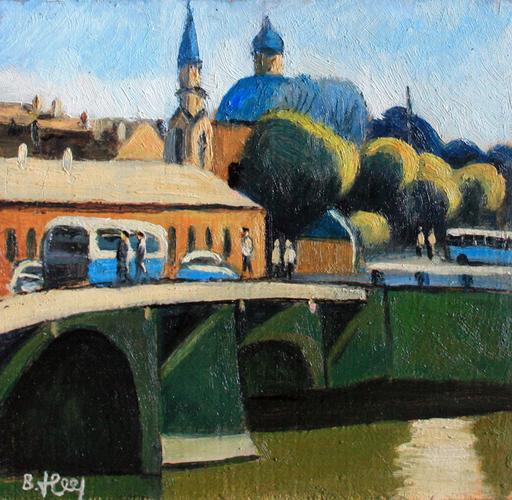 Valeriy NESTEROV - Pintura - Belinskogo bridge. Leningrad