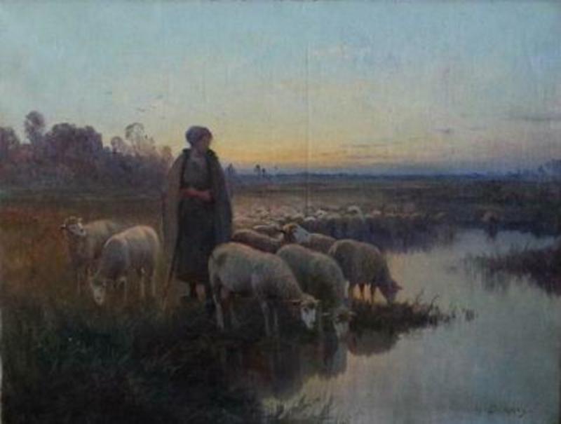 Henri DERIANS - Pintura - Herder met schapen
