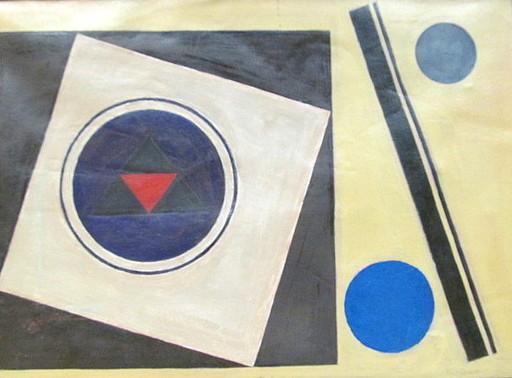 Rolf DIENER - Painting - Quadrate mit Kreisen.