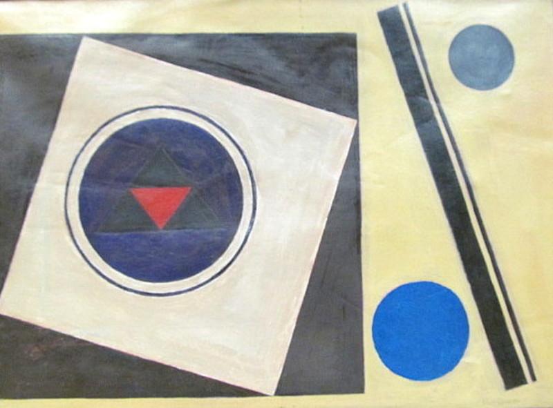 Rolf DIENER - Pintura - Quadrate mit Kreisen.