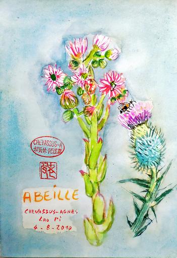 Jean-Pierre CHEVASSUS-AGNES - Dessin-Aquarelle - Abeille sur fleur de chardon et fleurs de joubarbe
