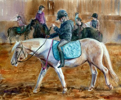 Aleksandra KHLEBNIKOVA - 水彩作品 - Girl on a horse