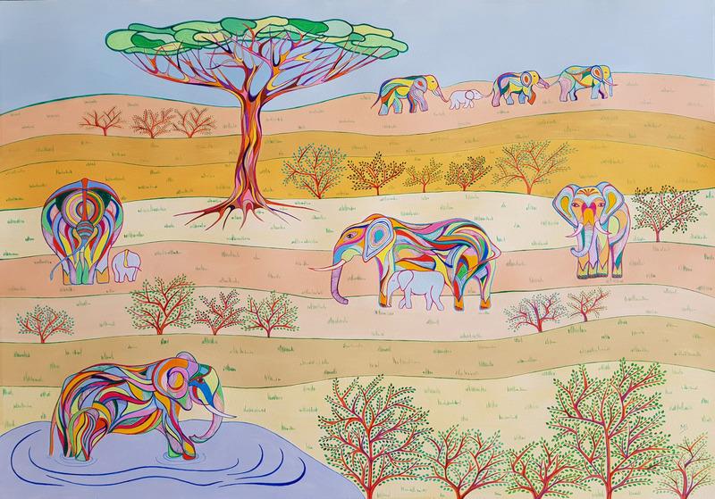 Monique BERTINA - Peinture - L'arbre aux éléphants