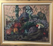 Jean AUJAME - Pintura - Lune dormeuse aux champignons