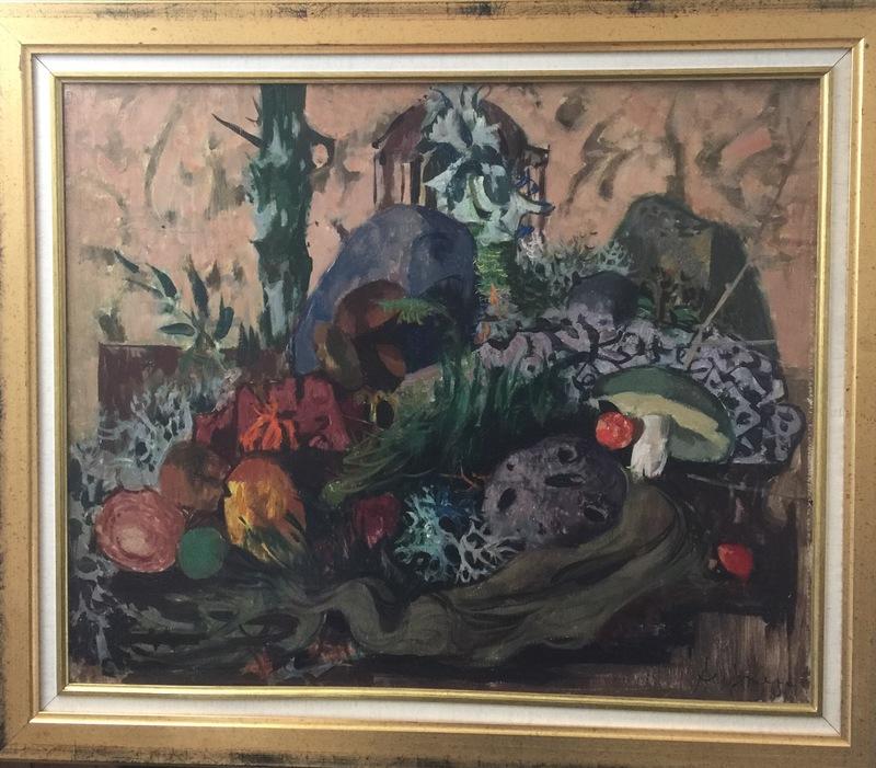Jean AUJAME - Peinture - Lune dormeuse aux champignons
