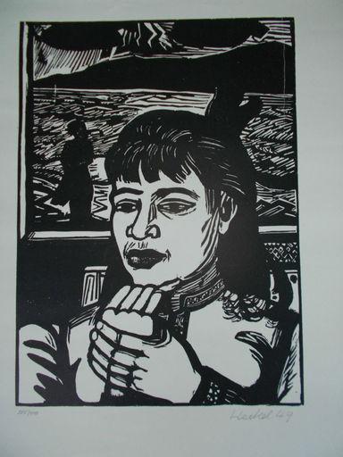 埃里希·黑克尔 - 版画 - Junge Frau