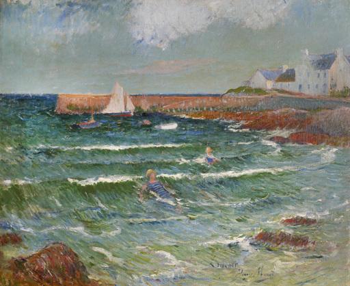 Henry MORET - Pintura - Baignade en mer à Lomener