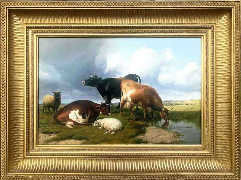 Thomas Sidney COOPER - Painting - Sheep and Cattle Watering