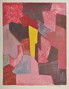 Serge POLIAKOFF - Estampe-Multiple - Composition rouge, carmin et jaune n°19