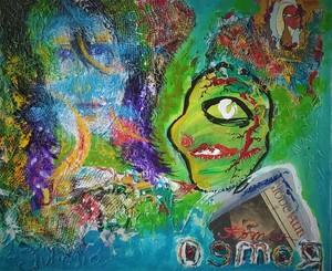 Romeo DOBROTA - Painting - Romeo and the soul of Juliett...Acrylic collage, 51x61 cm,