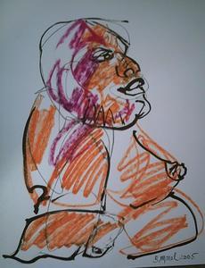 Bernard MOREL - Zeichnung Aquarell - L'AFRICAINE