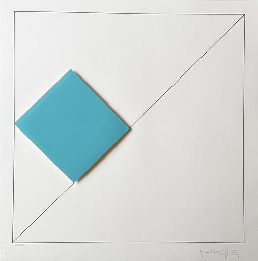 Gottfried HONEGGER - Estampe-Multiple - Composition 1 carré 3D (bleu clair)