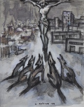 Oskar RABIN - Drawing-Watercolor - La Crucifixion aux Loups
