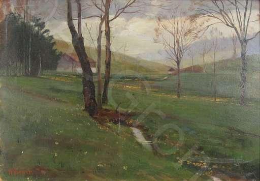 Robert KIENER - Painting - Gehöf mit Bach im Jura