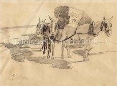"""Ulpiano CHECA Y SANZ - Drawing-Watercolor - """"Plaza de la Cebada""""  - Madrid"""