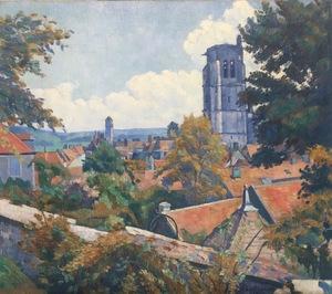 Emile Henri BERNARD - Pintura - Vue sur Tonnerre avec L'Eglise Notre Dame