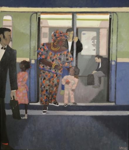 Odette DERAY - Painting - Dans le Métro