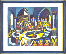 Josef SCHARL - Drawing-Watercolor - Large procession