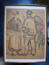 Pierre DE BELAY - Drawing-Watercolor - BRETONNE ET MARIN AU PORT