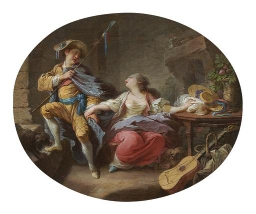 Jacques Larue, dit MANSION - Painting - Jeune bergère et son amant / jeune bergère et sa mère