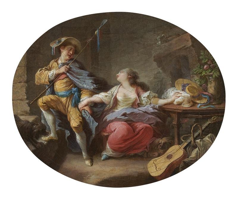 Jacques Larue, dit MANSION - Pittura - Jeune bergère et son amant / jeune bergère et sa mère