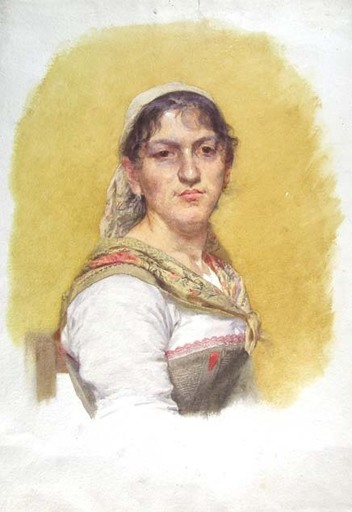 Filadelfo SIMI - Drawing-Watercolor -  PORTRAIT OF AN UMBRIAN PEASANT WOMAN