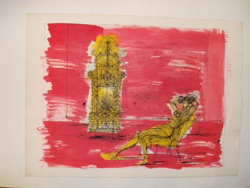 "Jean CARZOU - Dibujo Acuarela - ""Le Repos du Modèle"" 1975."